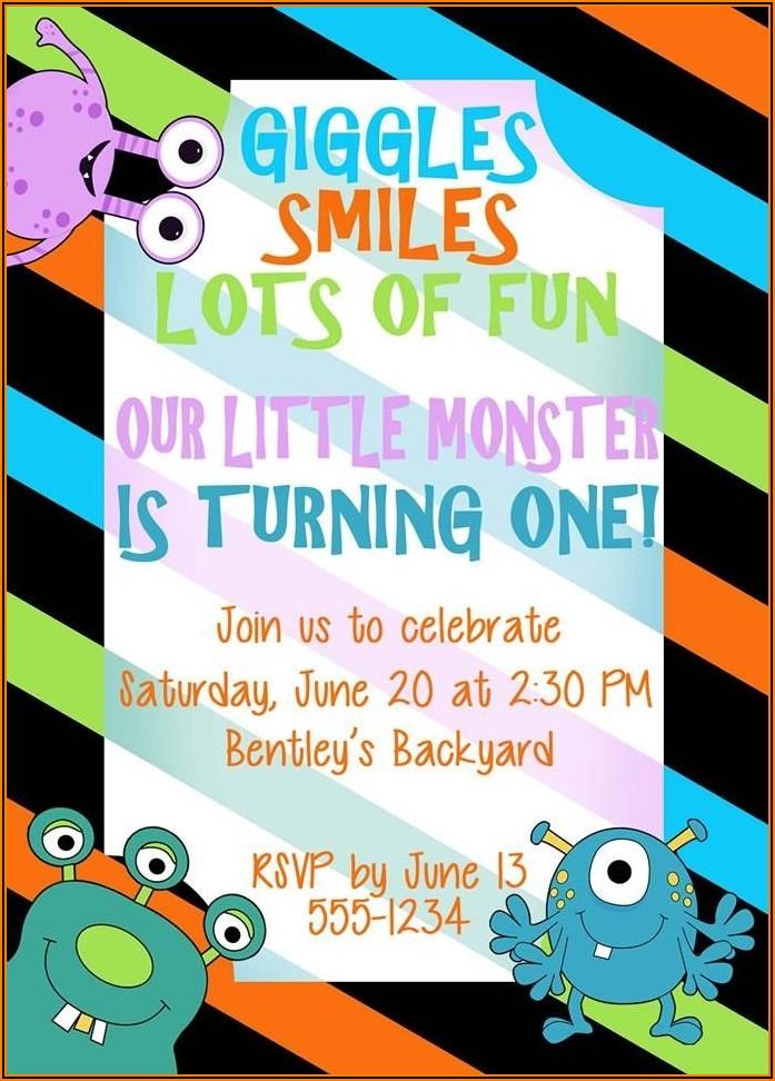 Monster 1st Birthday Invitations