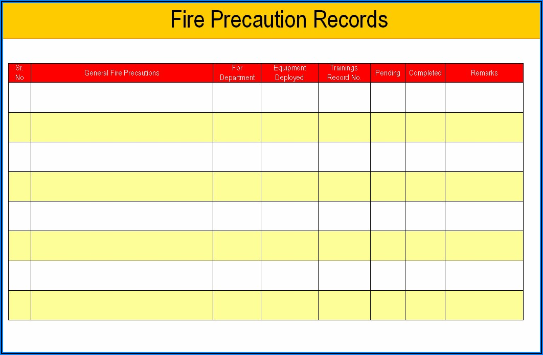 Monthly Fire Extinguisher Inspection Sheet
