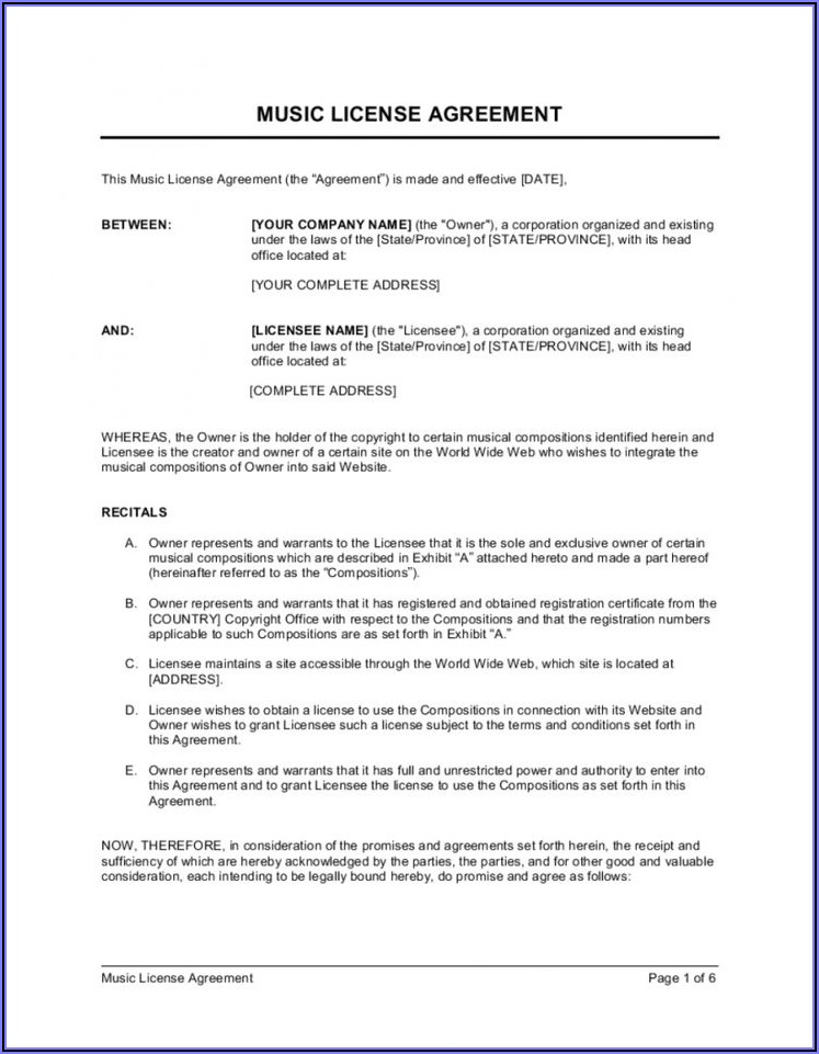 Music License Agreement Template Free