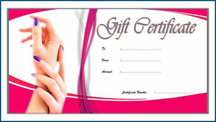 Nail Salon Gift Certificate Template Free Printable