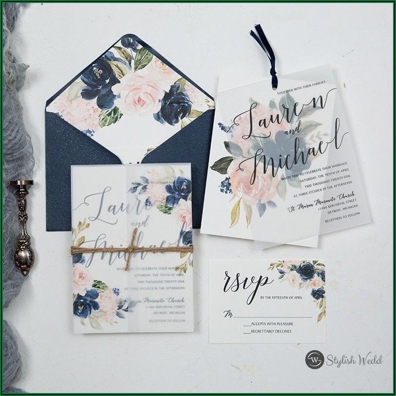 Navy Blue And Blush Pink Wedding Invitations