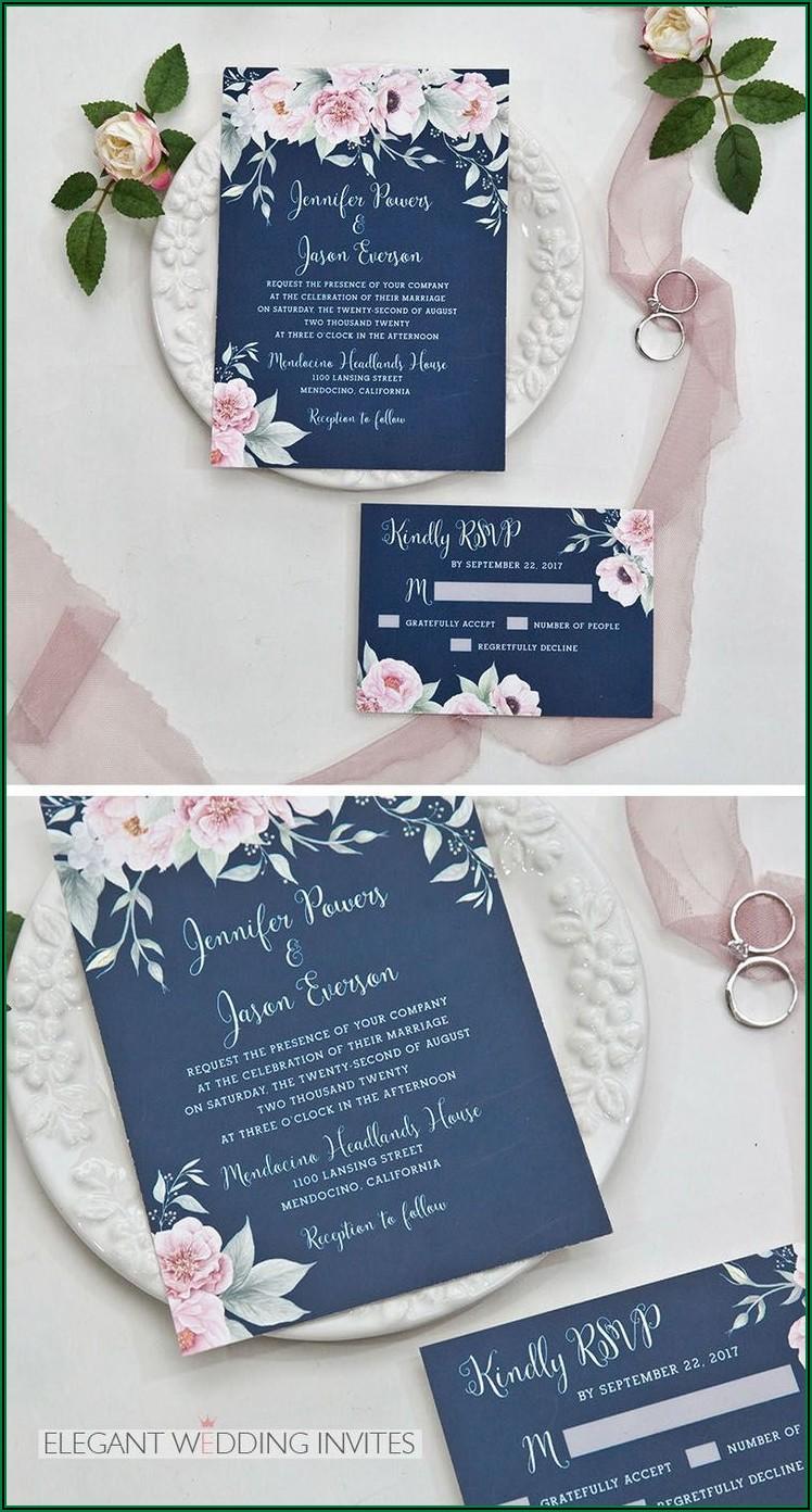 Navy Blue And Blush Wedding Invitations