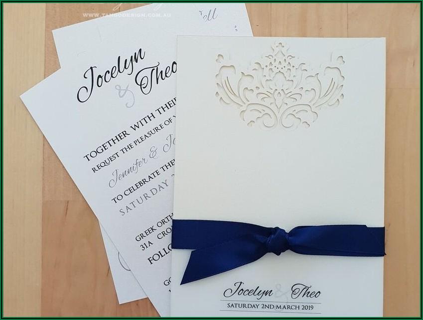 Navy Blue And White Wedding Invitations