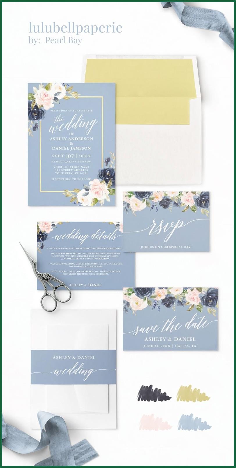 Navy Blue Blush And Gold Wedding Invitations