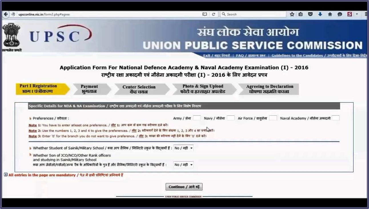 Nda Online Form Fees