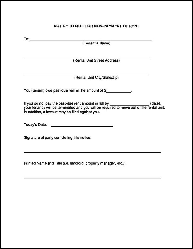 Notice To Quit Form For Landlords