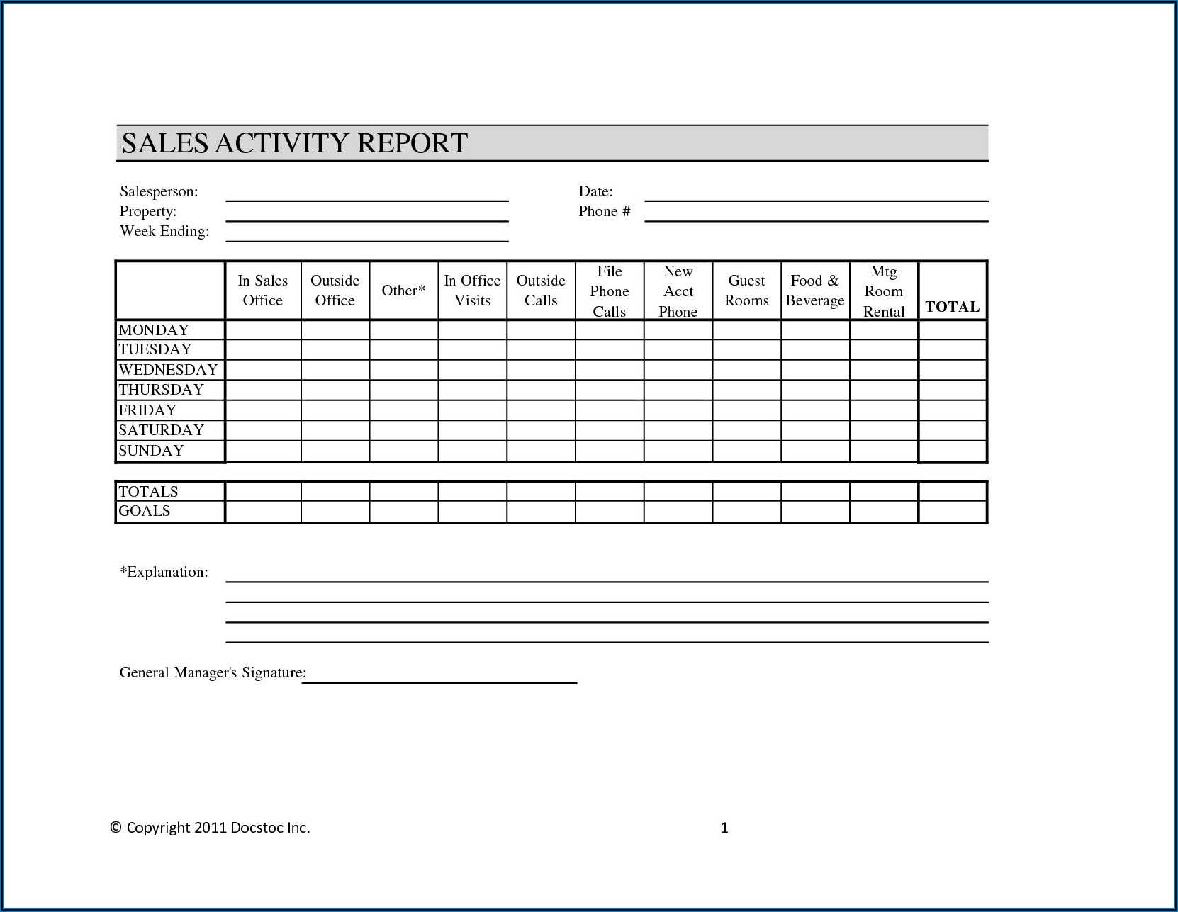 Outside Sales Daily Call Report Template