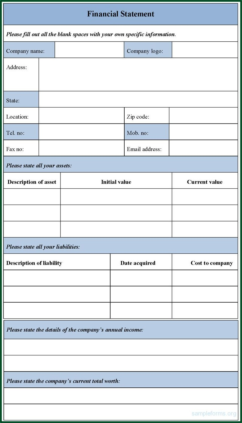 Personal Financial Statement Blank Form