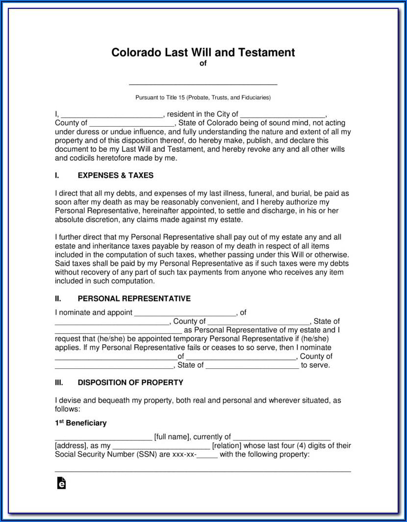 Personal Representative Deed Form Colorado