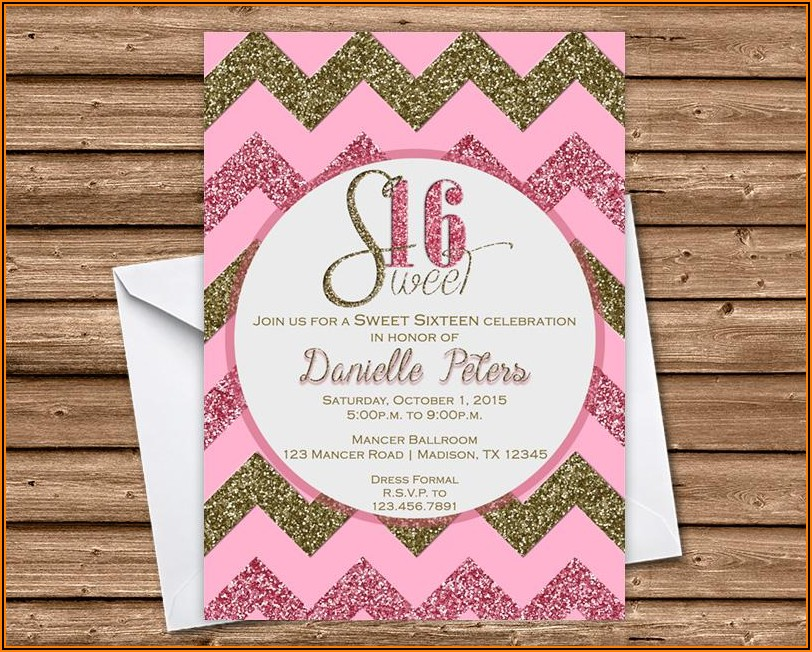 Pink And Gold Invitations Sweet 16