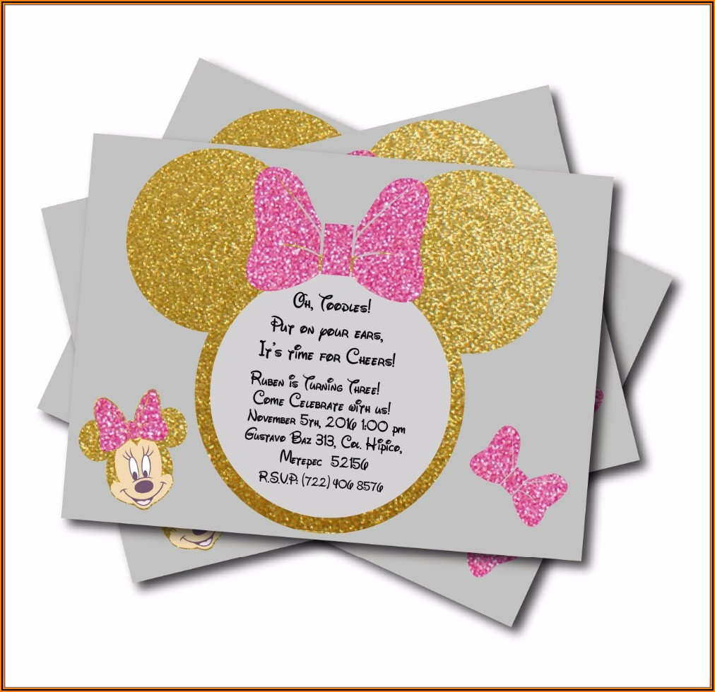 Pink And Gold Minnie Mouse Baby Shower Invitations