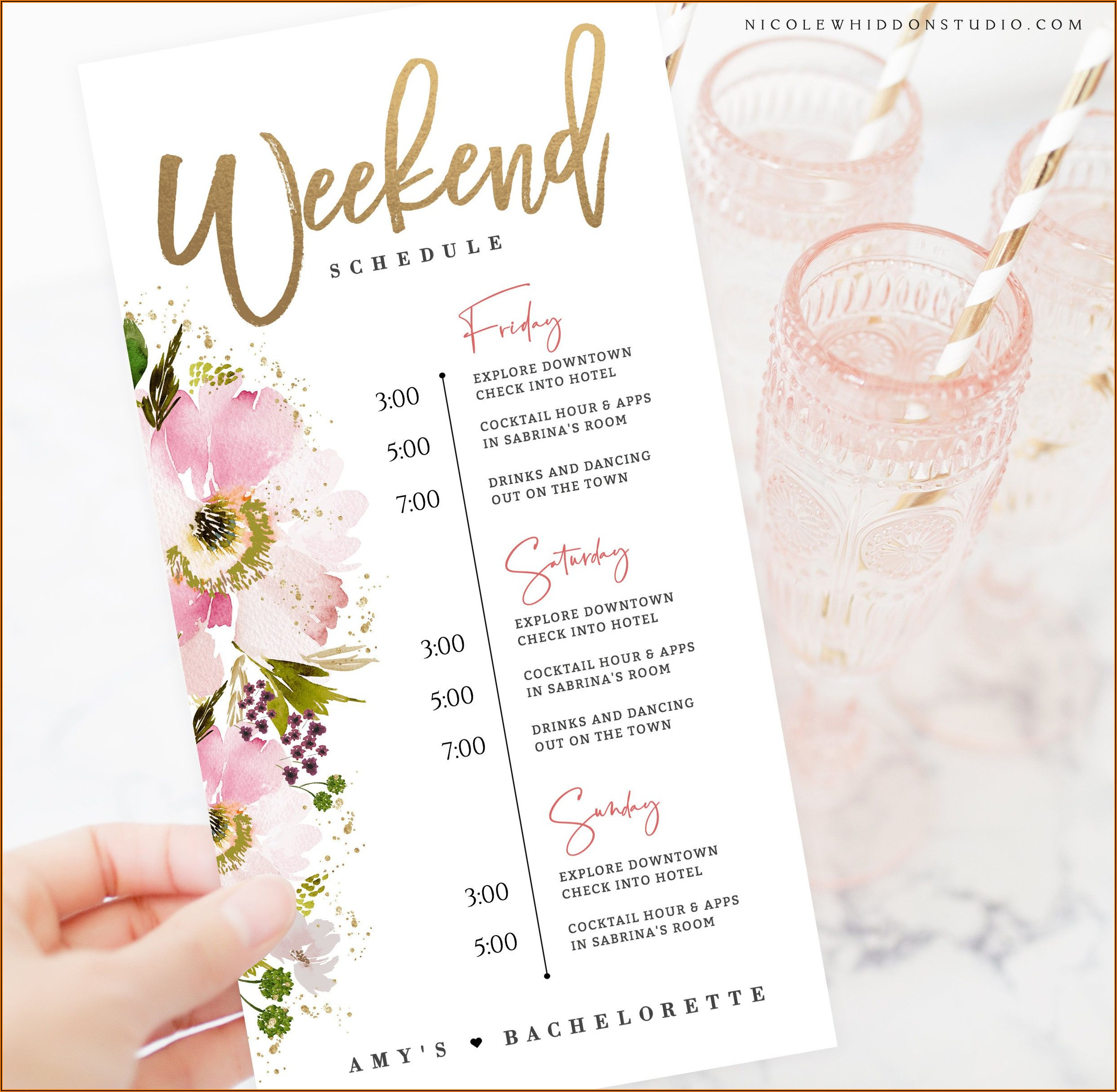 Pink And Rose Gold Birthday Invitations