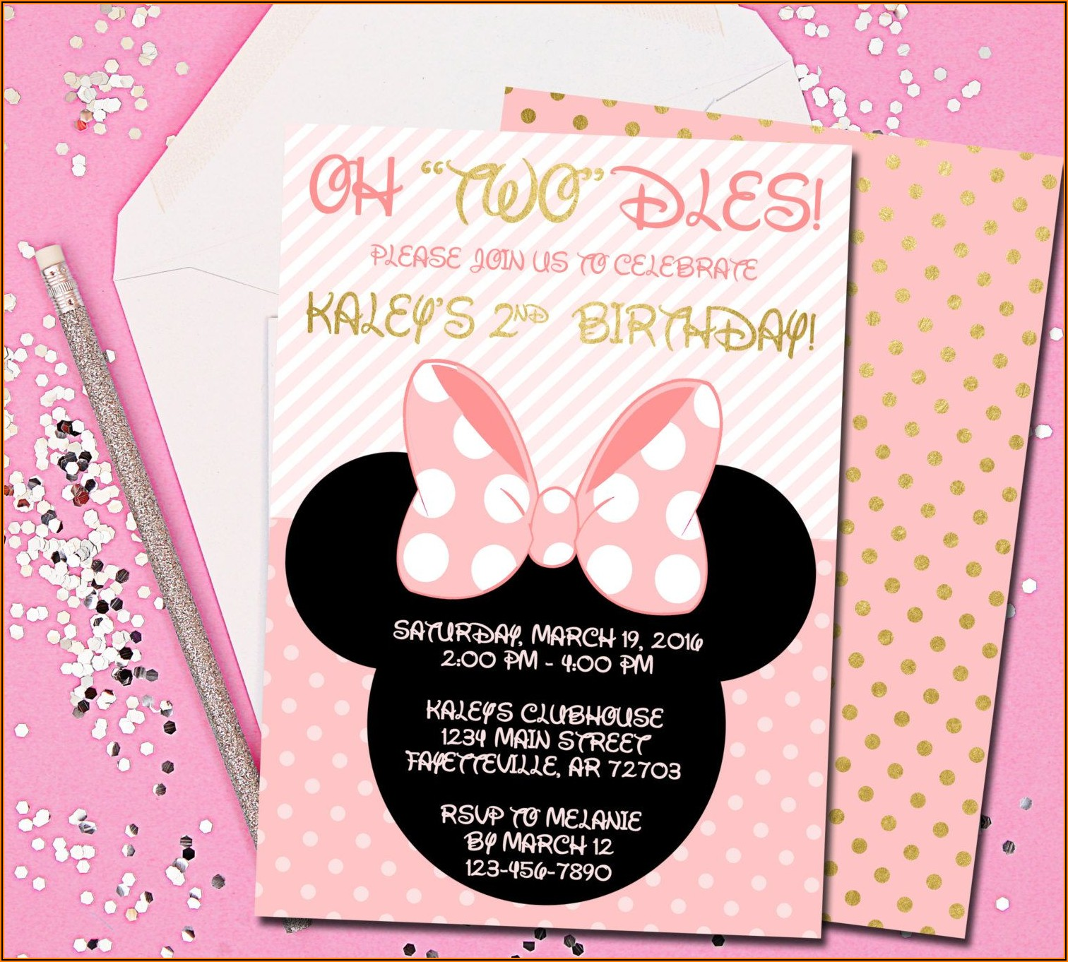 Pink White And Gold Birthday Invitations