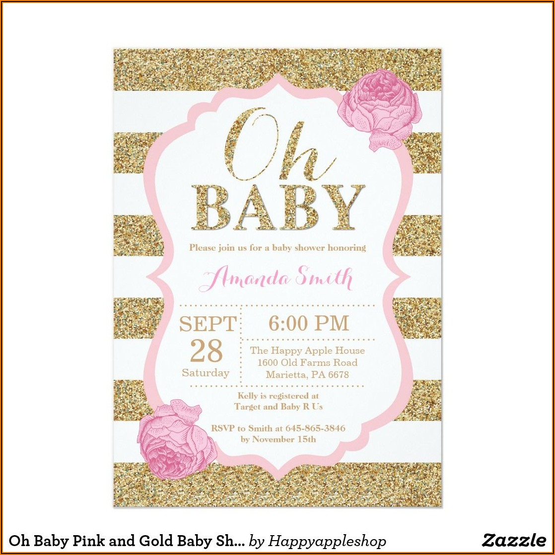 Pink White And Gold Invitations