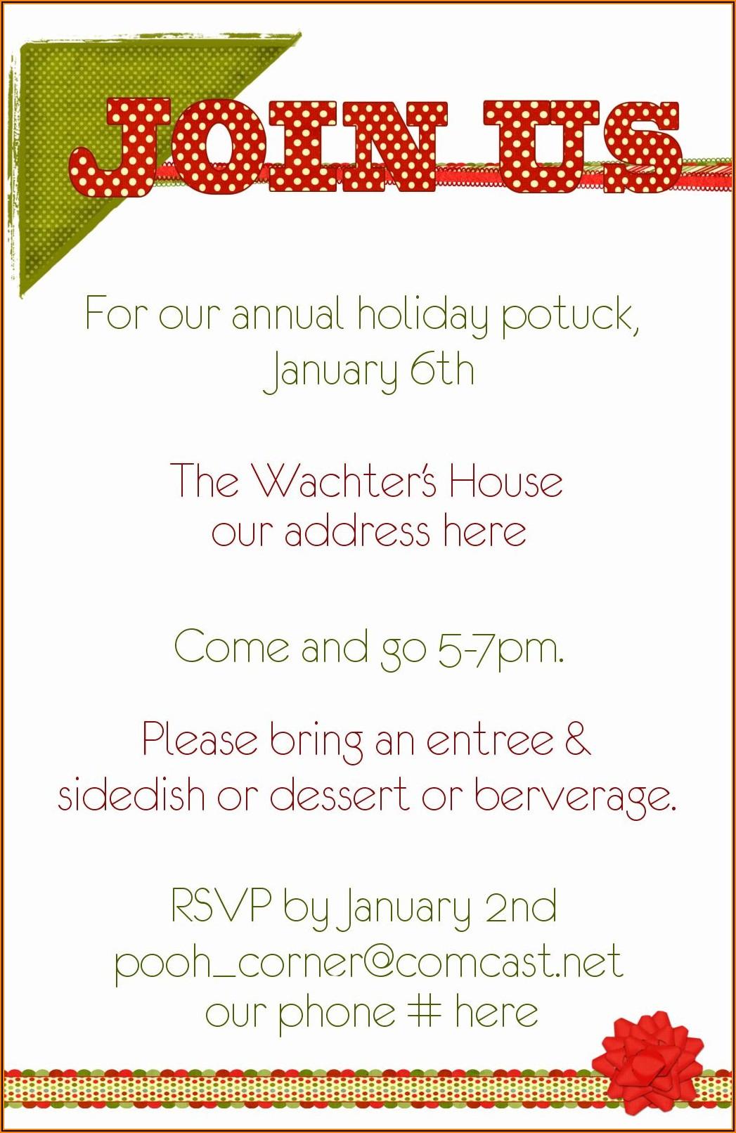 Potluck Invitation Wording For Office