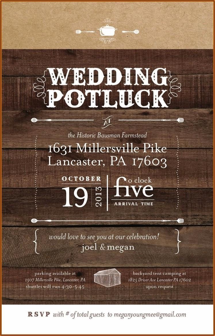 Potluck Wedding Reception Invitation Wording