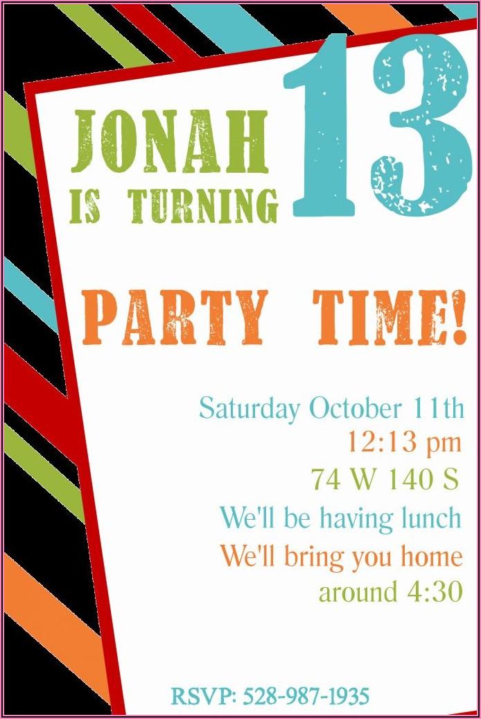 Printable 13th Birthday Invitations Free Templates
