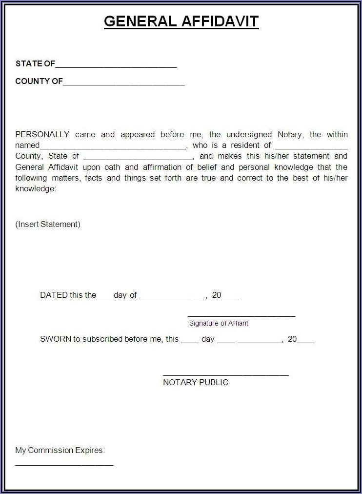 Printable Blank Affidavit Affidavit Form Zimbabwe Pdf
