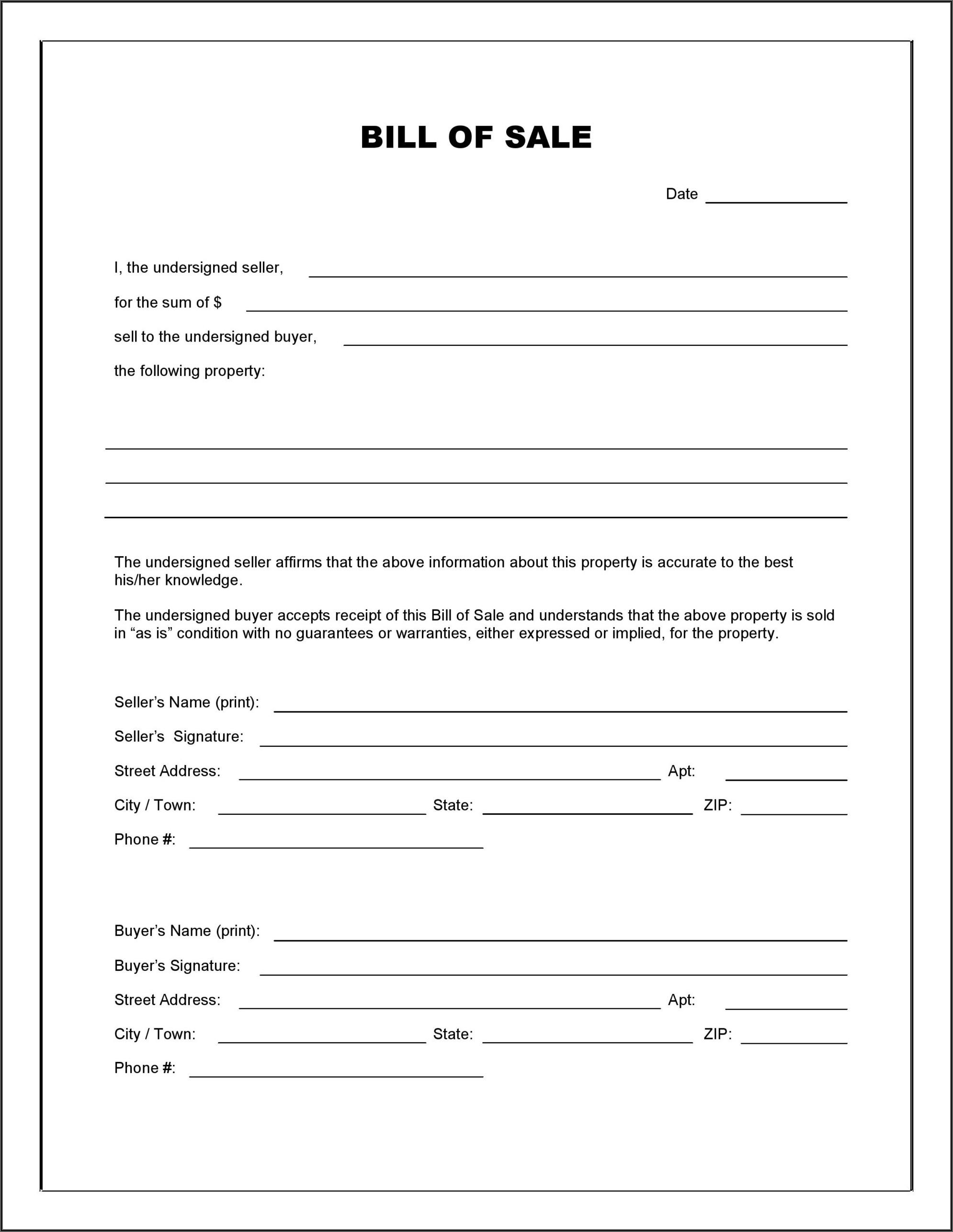 Printable Blank Vehicle Bill Of Sale Form