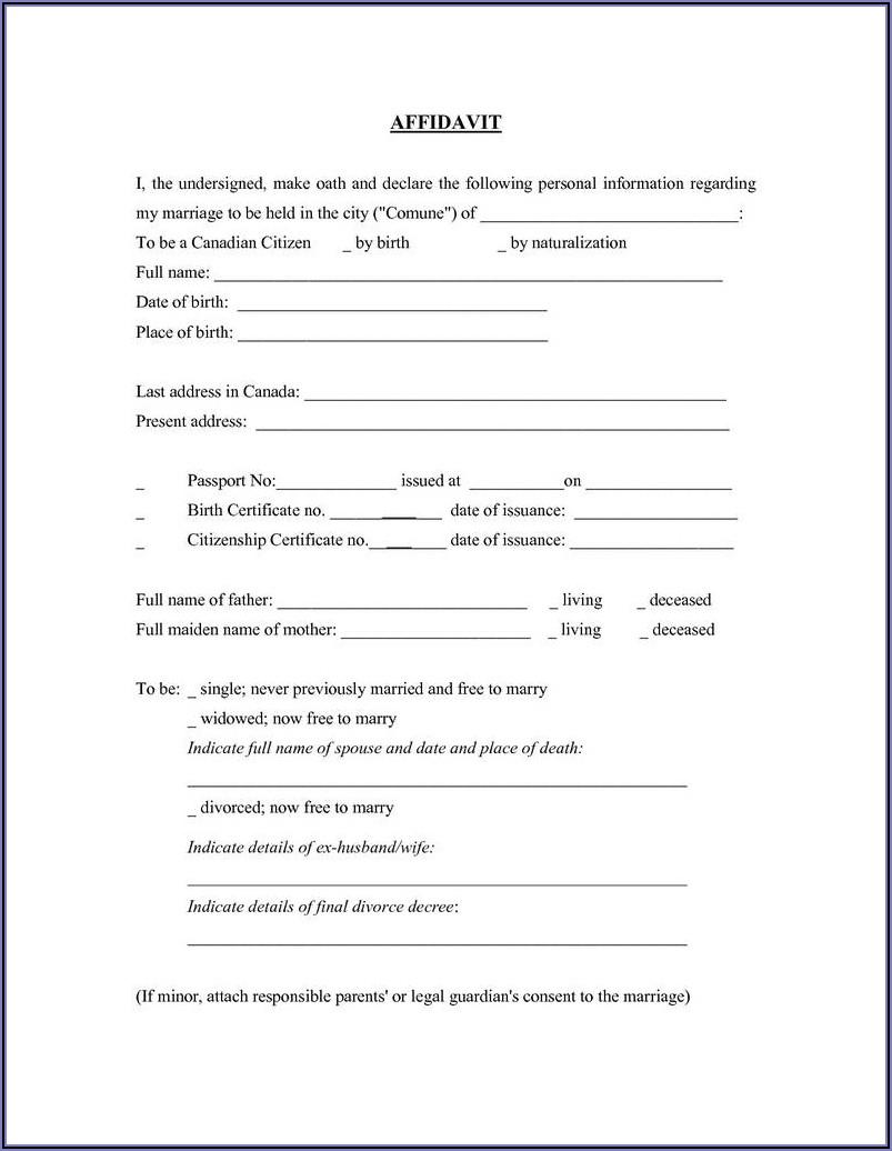 Printable General Affidavit Form Pdf