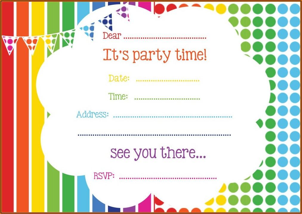 Printable Rainbow Birthday Invitations