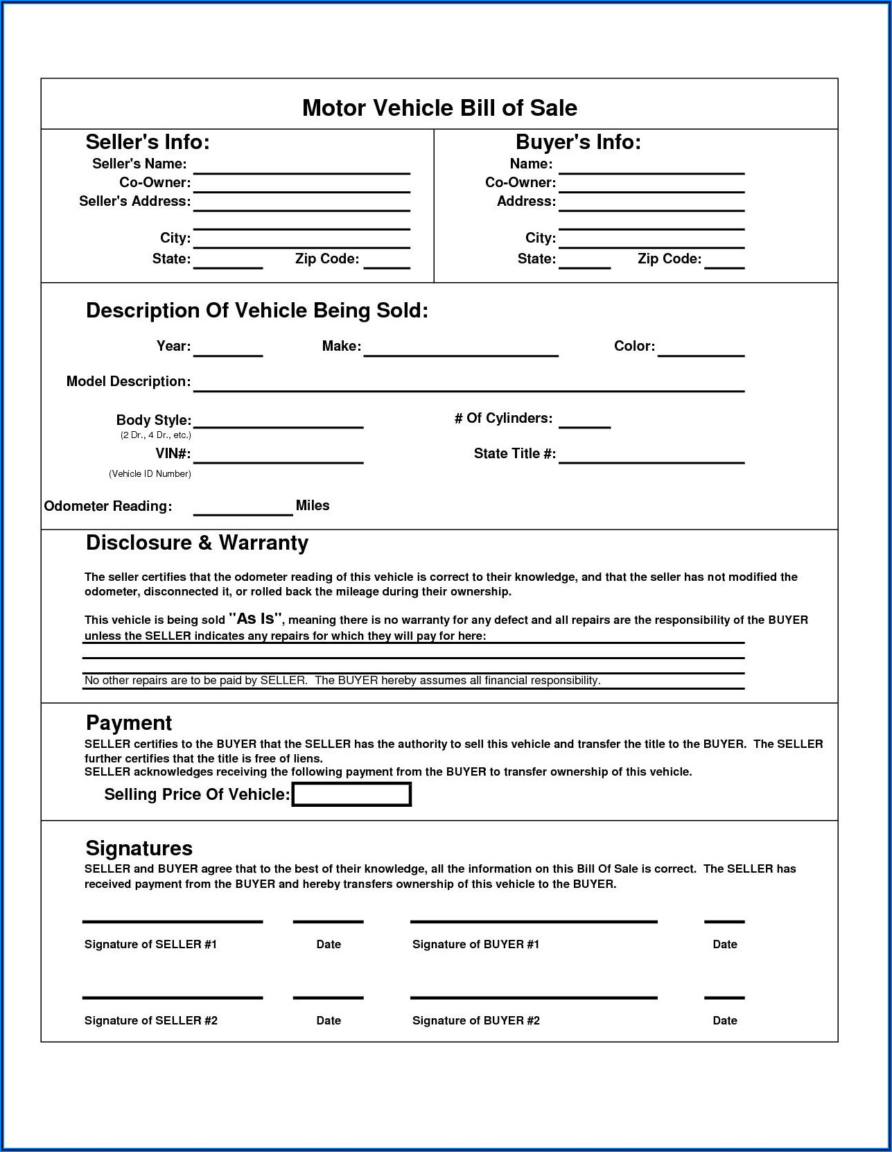 Printable Vehicle Bill Of Sale Template Fillable Pdf