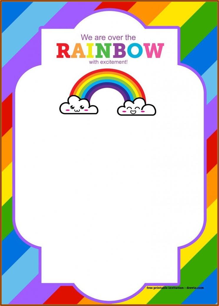 Rainbow Birthday Invitations Free