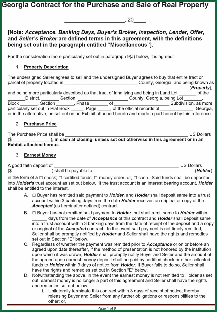Real Estate Sales Contract Form Georgia