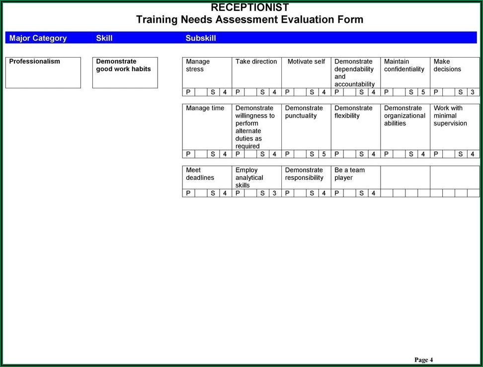 Receptionist Evaluation Form Pdf