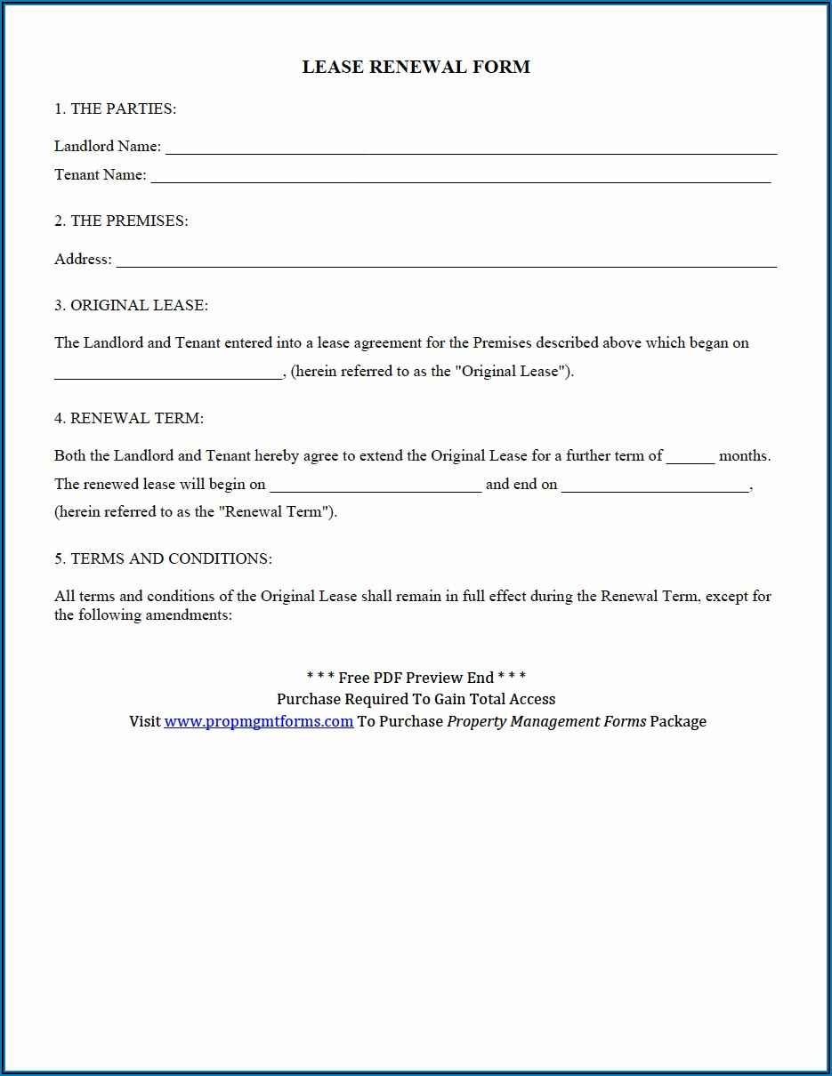 Rental Agreement Extension Format