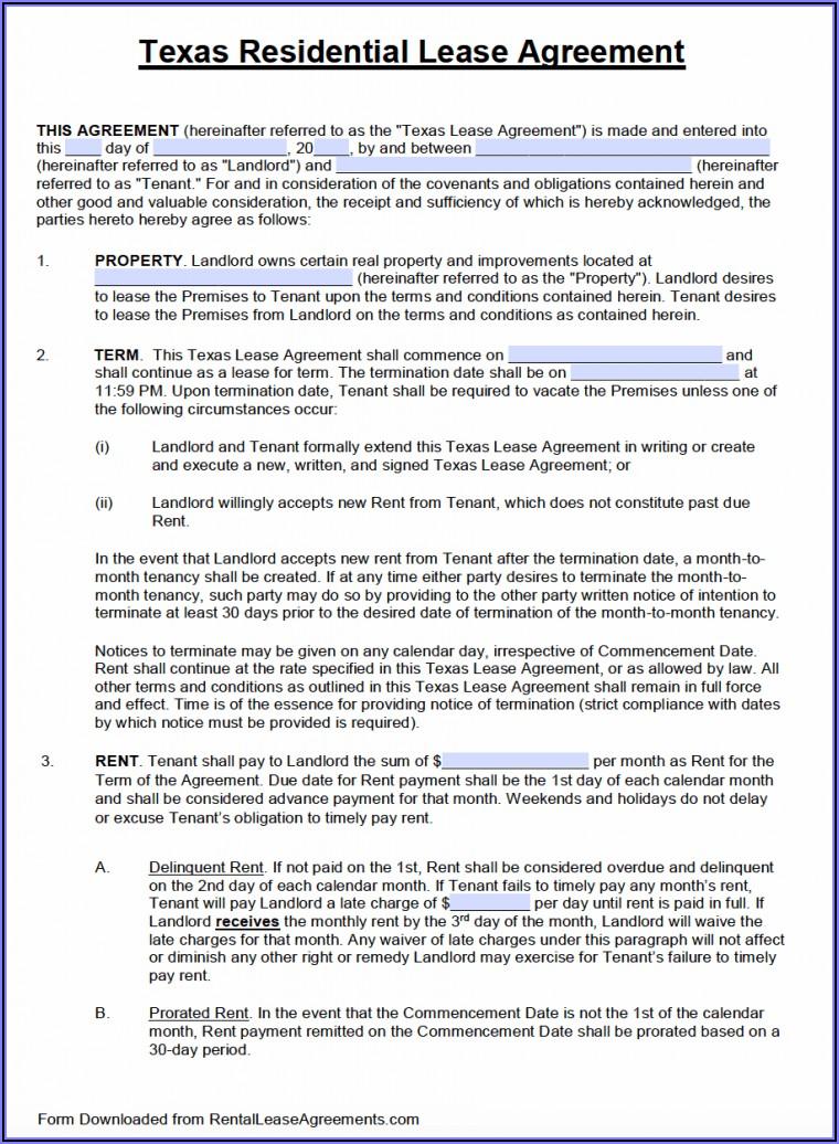 Rental Lease Template Microsoft Word