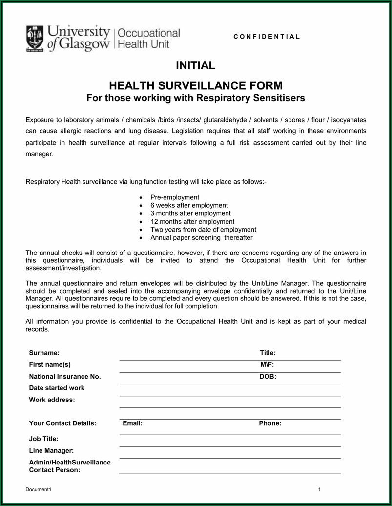 Respirator Health Screening Form
