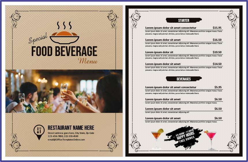 Restaurant Menu Templates Word Free