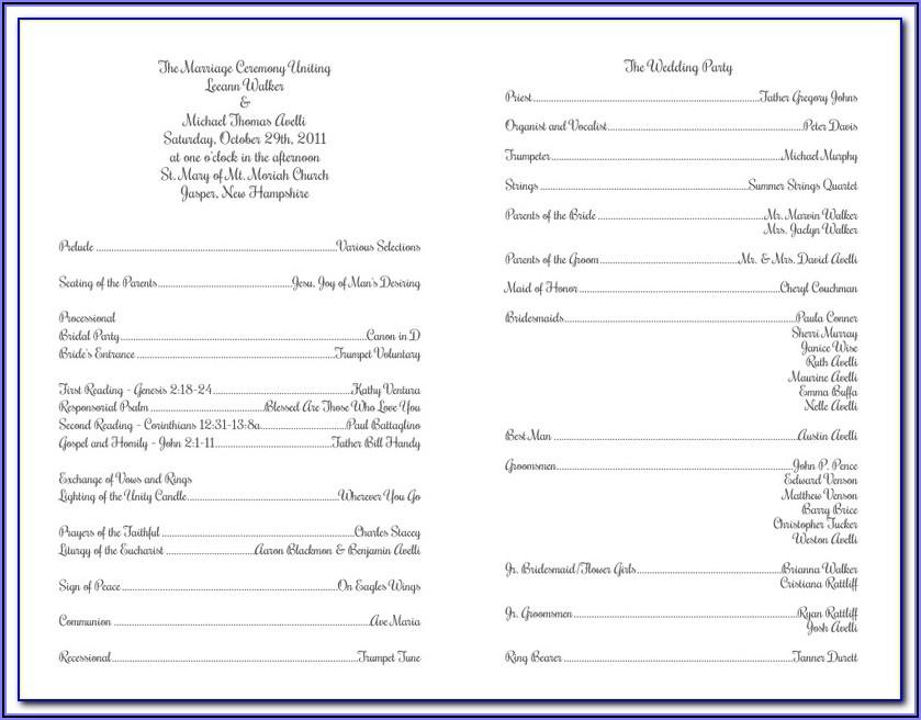 Roman Catholic Funeral Program Template