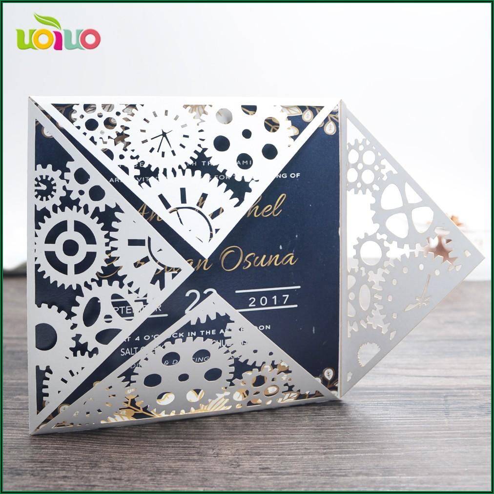 Royal Blue And Gold Wedding Invitation Card