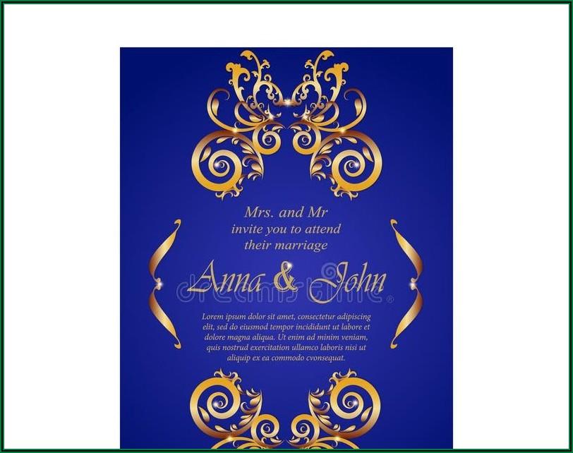 Royal Blue And Gold Wedding Invitation Design