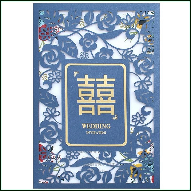 Royal Blue Silver Wedding Invitations