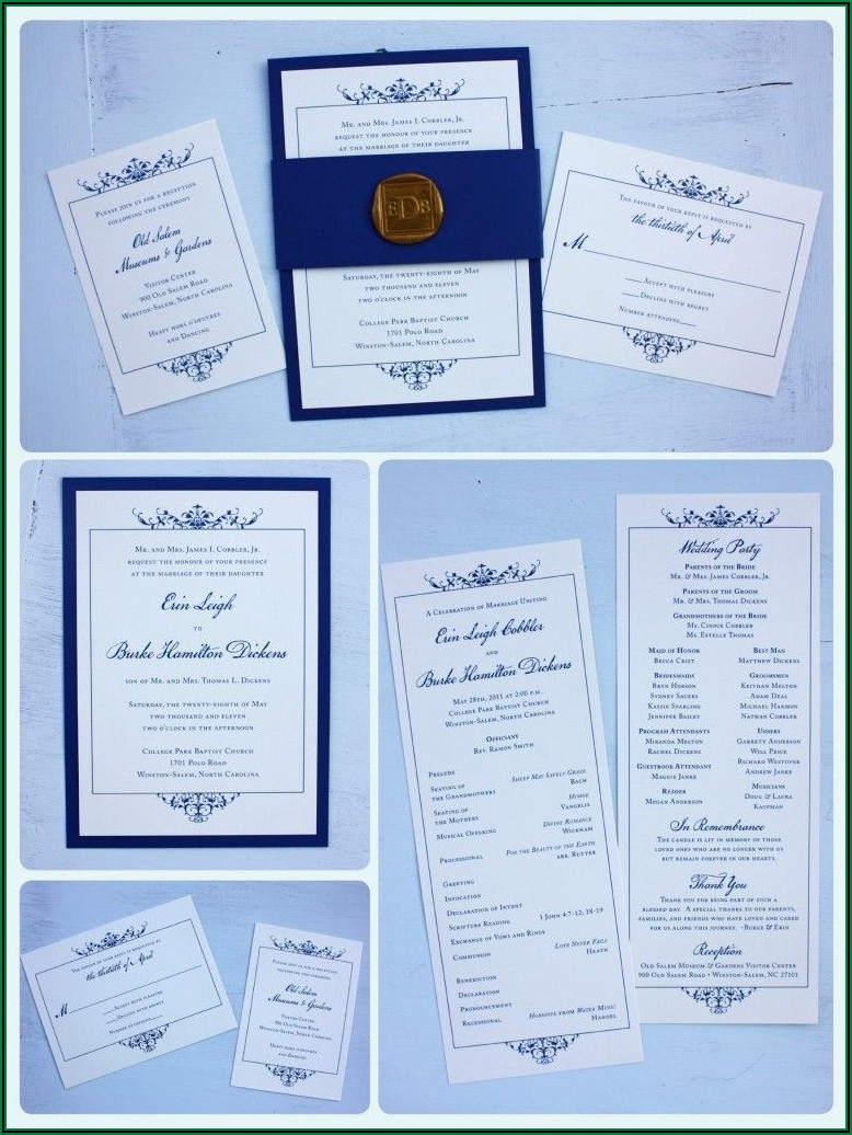 Royal Blue Themed Wedding Invitations