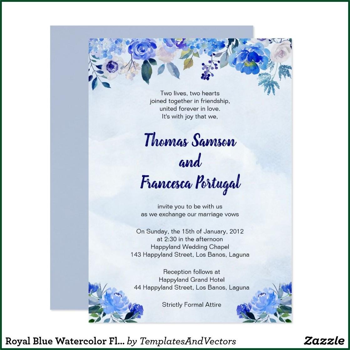 Royal Blue Wedding Invitation Layout