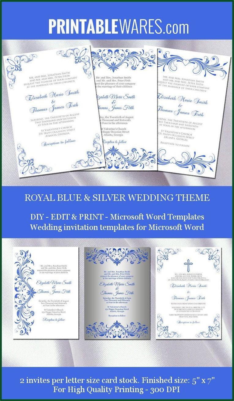 Royal Blue Wedding Invitations Templates