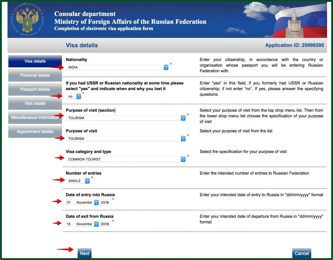 Russian Visa Application Form For Indian