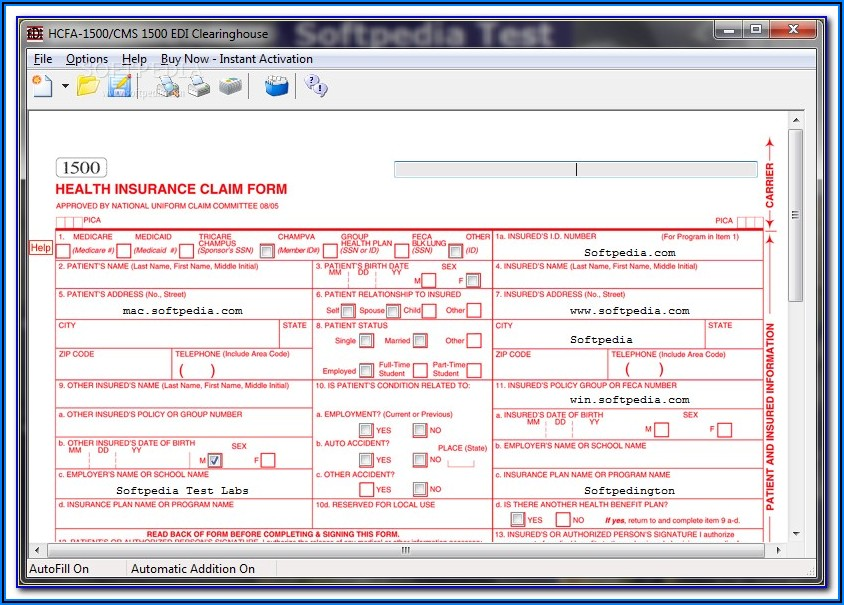 Sample Completed Hcfa 1500 Form