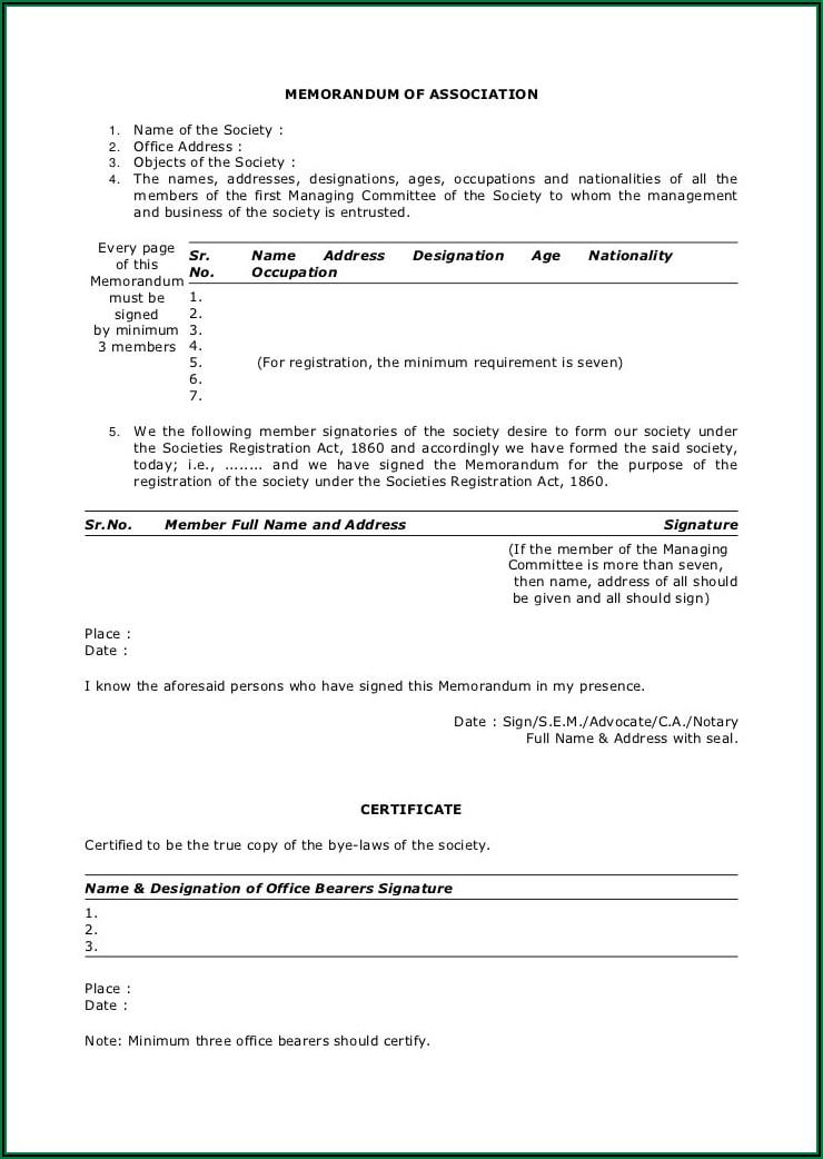 Sample Format Of Charitable Trust Deed