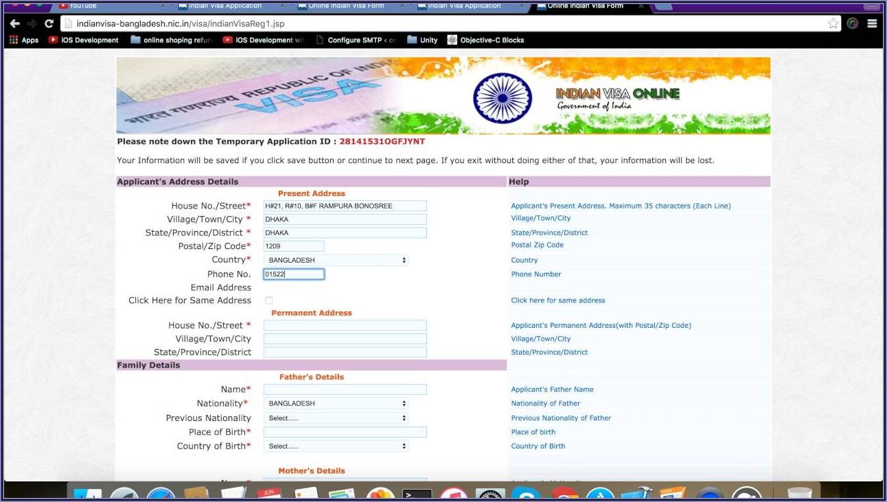 Sample Indian Visa Application Form For Us Citizen