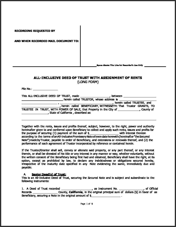 Sample Short Form Deed Of Trust California