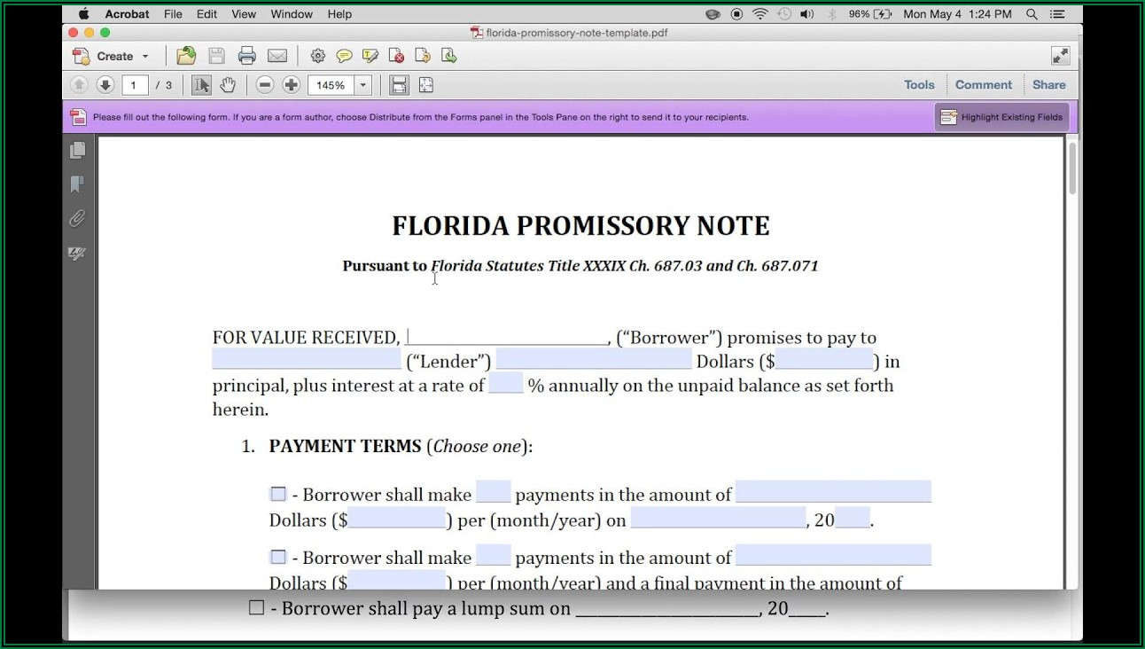 Secured Promissory Note Template Florida