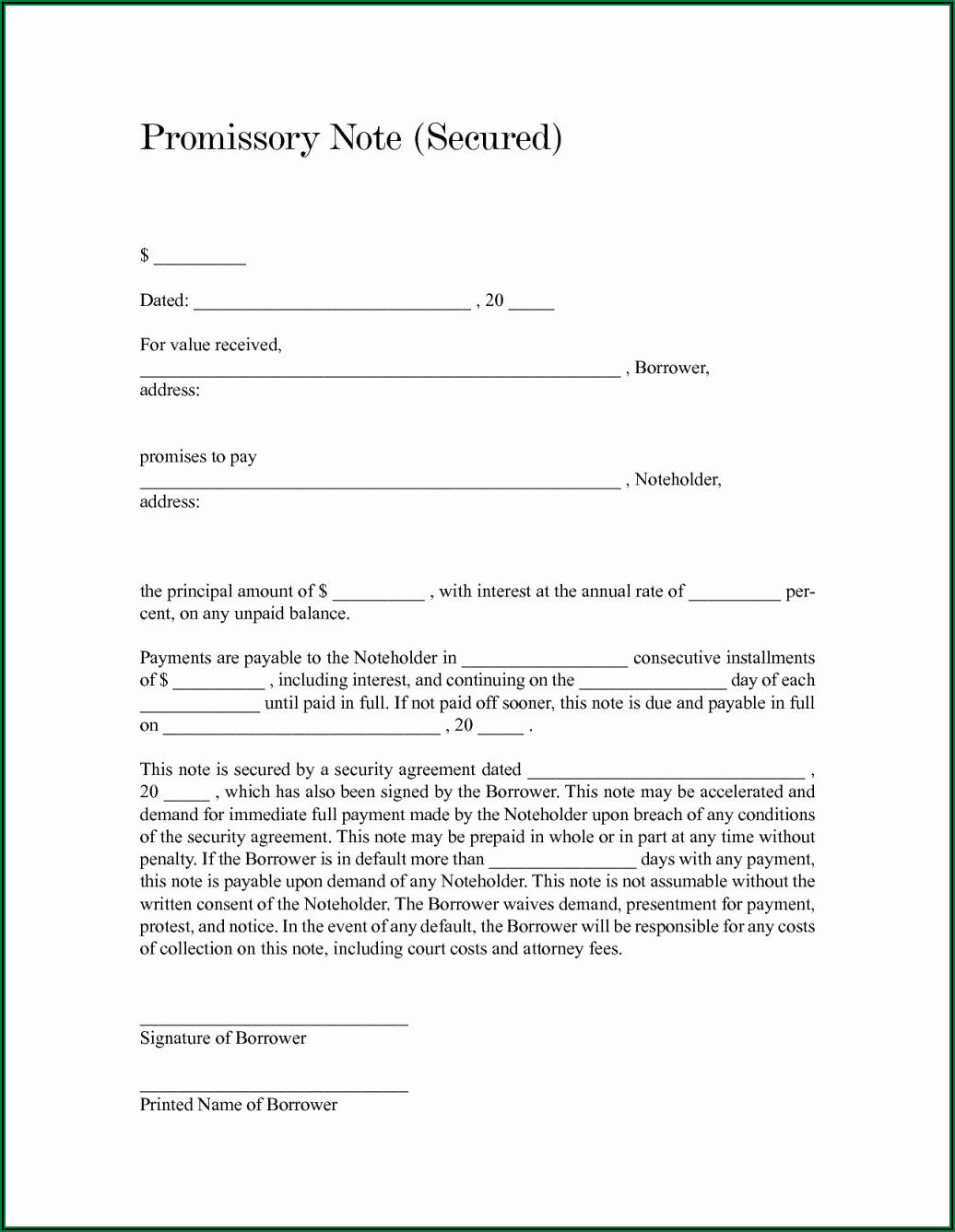 Secured Promissory Note Template Free Download