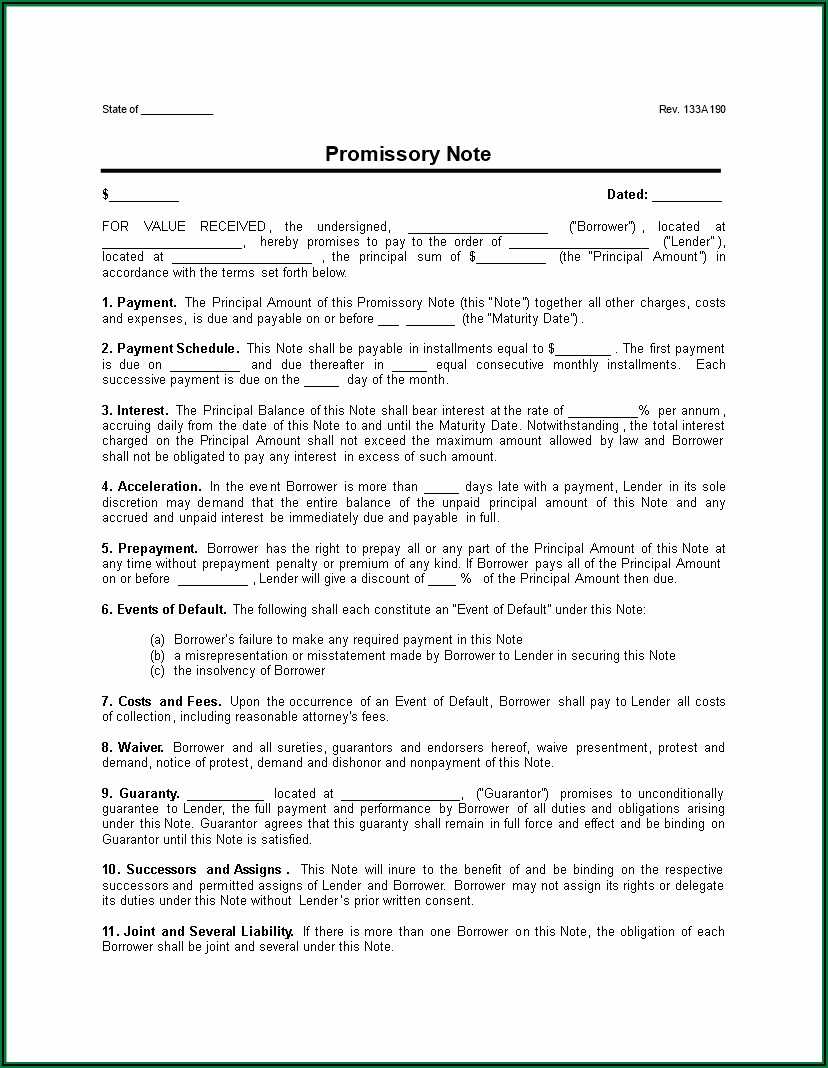 Secured Promissory Note Template India