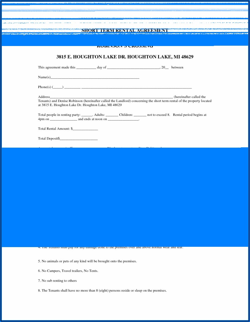 Short Term Rental Lease Form