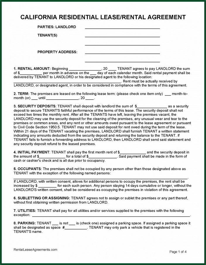 Simple Residential Tenancy Agreement Form